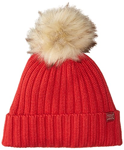 Joules Womens/Ladies Popperpom Pompom Cable Knit Beanie Hat (Cable Pink Knit)