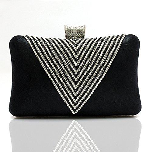 Le nuove borse borse sacchetto del vestito da sposa borsa borsa banchetto borsa a forma di cuore di diamante di sera della mano ( Colore : Nero ) Nero