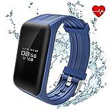 ALANGDUO Rastreadores de Fitness, Monitor de Ritmo cardíaco Rastreador Bluetooth Pulsera Inteligente Activity Podómetro Impermeable para teléfonos Inteligentes Android y iOS (Azul)