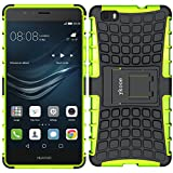 ykooe Huawei P8 Lite hülle, (Rüstungs Series) Huawei P8 Lite Hülle Dual Layer Hybrid Handyhülle Stoßfest Handys Schutz Case mit Ständer Schutzhülle für Huawei P8 Lite Grün (5,0 Zoll)