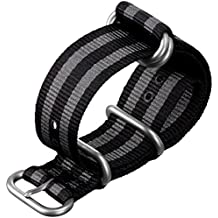 Cinturino orologio ZULUDIVER® Nylon ZULU Strisce nero/grigio, Raso, (Rolex Omega Orologi Omega Watch)