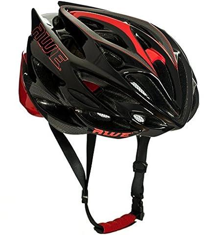 AWE® AWESpeed™ REMPLACEMENT DE CRASH GRATUIT 5 ANS * Moule adulte hommes en cyclisme sur route casque 58-61cm Noir de carbone rouge - Casco Nero Design