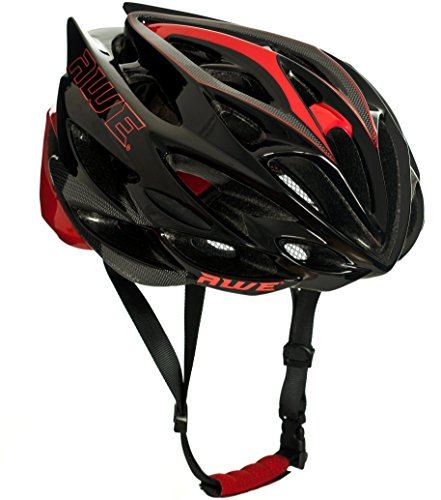 AWE AWESpeed In Mould Casco de Ciclismo en Ruta para Hombres Adultos 58-61cm Negro, Carbono Rojo