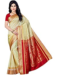 Rani Saahiba Women's Silk Saree (Skr3419_Off White& Red)