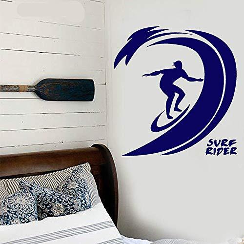 Home Wand Surfen Welle Surfbrett Ritter Wandaufkleber Vinyl Interior Home Decor Kinderzimmer Teen Schlafzimmer Aufkleber Tapete Marineblau 57x60cm (Spider-tagebuch)