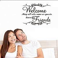 Con texto Welcome friends Inglés Cita extraíble pegatinas de pared adhesivo decorativo 16