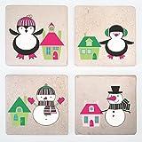 Urlaub verziert Stein Drink coasters- Set von 4–Funny Bier Matte für Getränke–Weihnachten und neues Jahr Thema pinguin