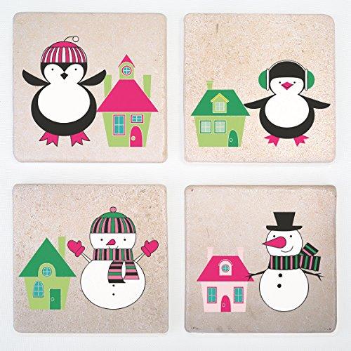 Urlaub verziert Stein Drink coasters- Set von 4–Funny Bier Matte für Getränke–Weihnachten und neues Jahr Thema pinguin (Über Logo Socke)