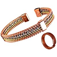 The Online Bazaar Vier stränge magnet kupfer, Aluminium und Messing Armband und geätzt, auf linien effekt Magnet... preisvergleich bei billige-tabletten.eu