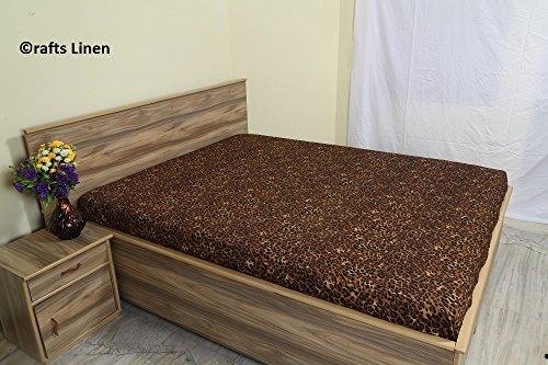 Crafts Leinen Ägyptische Baumwolle 650-thread-count Satin One Spannbettlaken Kaiser (+ 24cm) Pocket Tiefe, Leopard Print