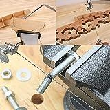 Lavorazione del legno regolabile fai da te Sega a scorrimento Coping Strumento in acciaio al carbonio Forma a U Ghirlanda Curve Filo Lama per sega Scolpita 5 pezzi Lama + giallo e nero-300 * 115mm