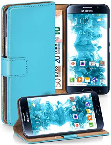 moex Booklet mit Flip Funktion [360 Grad Voll-Schutz] für Samsung Galaxy S6   Geldfach und Kartenfach + Stand-Funktion und Magnet-Verschluss, Türkis