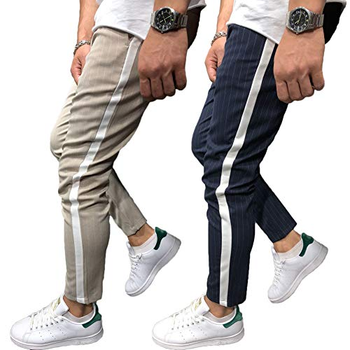 Shawnlen Männer Casual Skinny Track Pants Slack Bottoms Chino Slim Fit Hose Langer Trainingsanzug mit Taschen S-3XL (M, Khaki) - Bottom-hose