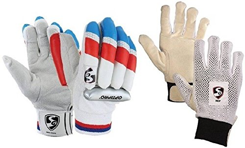 SG Combo von zwei, One Paar 'Optipro' (Traditionell) Batting Handschuhe und ein Paar 'Test' Innen Handschuhe (Herren) Cricket Kit