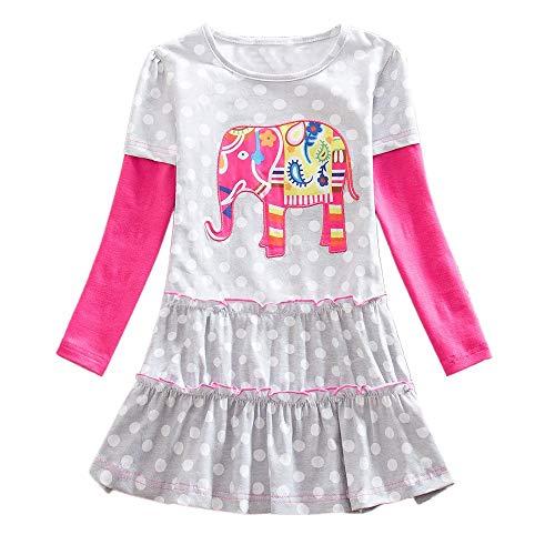 Yazidan Kleinkind Baby Mädchen Winter warm Lange Ärmel kleine Elefanten Polka Dot Print Rüschen Nähte Prinzessin Kleid Langarmshirt Kleider bunt Niedlich Kleinkind Sport Freizeit Kleidung -