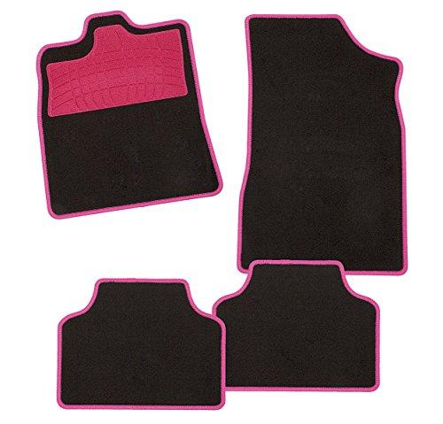 CarFashion 240730 Colori Pink AM1, Auto Fussmatte in Schwarz, Automatten, Trittschutz in Pink, pinkfarbige Hochglanz Kettelung, Auto Fussmatten Set Ohne Mattenhalter