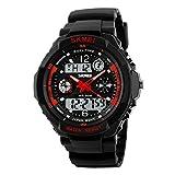 Reloj de hombre de Skmei resistente al agua 50m ,reloj deportivo para el aire libre, montañismo o senderismo, reloj LED digital para niños y hombres., Rojo, large