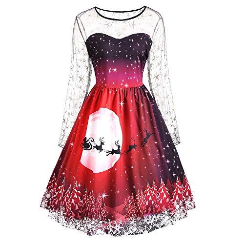 OIKAY Weihnachten Abend Party Kleid Mode Frauen Vintage Merry Print Langarm Mesh Kleider(rot,EU-48/5XL)