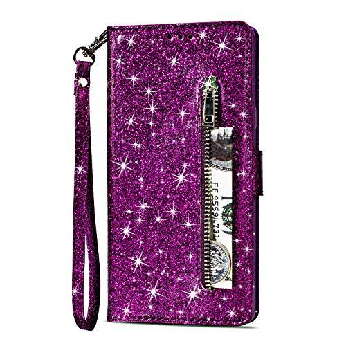 Yobby Glitzer Brieftasche Hülle für Samsung Galaxy S8, Samsung Galaxy S8 Lila Handyhülle Bling Slim Reißverschluss Leder Schutzhülle Flipcase [Stand-Funktion] mit Kartenfach und Handschlaufe - Reißverschlusstasche Hinten