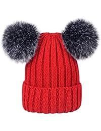 Lau s Cappelli donna invernali berretto lavorato a maglia con doppio pompon  di pelo sintetico 17a77166f933