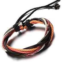 Pulsera Hecha a Mano, Multi-Hilo, Colores Pulsera Cuero Cuerda de Hombre de Mujer, Tejido Pulsera del Abrigo