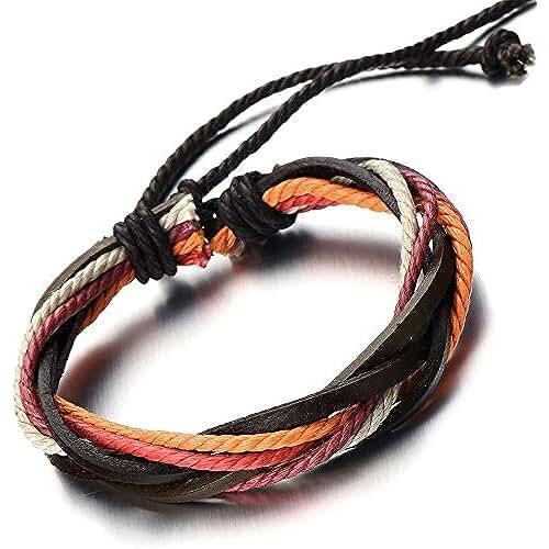 dia del orgullo friki Pulsera Hecha a Mano, Multi-Hilo, Colores Pulsera Cuero Cuerda de Hombre de Mujer, Tejido Pulsera del Abrigo