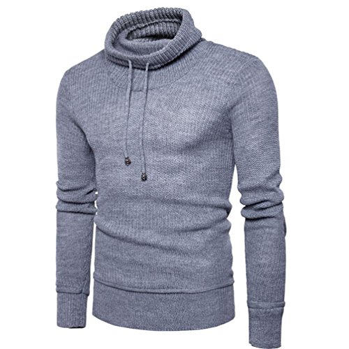 VENMO Oversize Slim-fit Muscleshirt Vintage Herren Feintrick Pullover Sweatshirt HIGH-Neck Herrenmode neue Herbst Winter Pullover Pullover lose Pullover Strickwaren Outwear Bluse (M, Gray) -