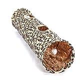 Happy- little -bear Tunnel de Chat de Couverture de Peluche Pliable de modèle de léopard avec Le Jouet de Boule pour Le Chat