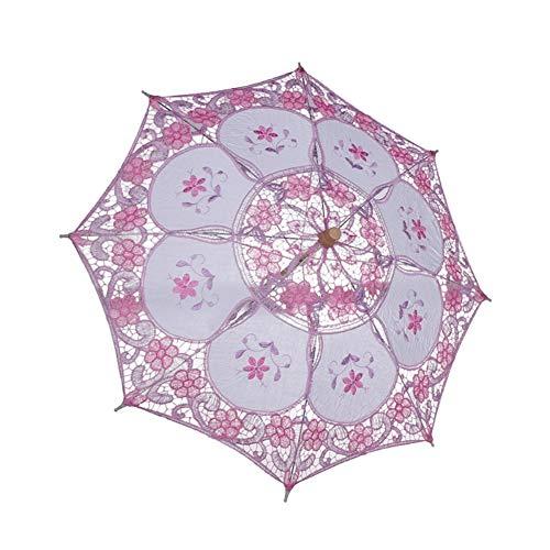Sonnenschirm Kostüm - WEISY Mini Spitzenschirme Mit Holzgriff, Sonnenschirm Schirme für Kinder Tanzen Kostüm Zubehör Cosplay Fotografie Requisiten