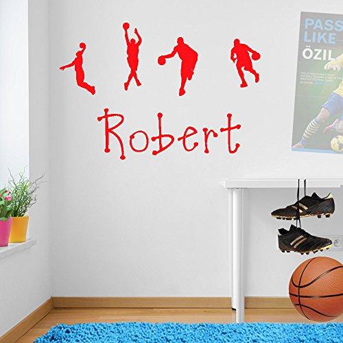 Bambini personalizzabile basket sport decorazioni a parete finestra adesivi da parete adesivi da parete Wall Art Decor Adesivi Adesivi da Parete in Vinile Decalcomanie Decorazioni DIY deco rimovibile Wall Decals Adesivi colorati, Vinile, Red, small