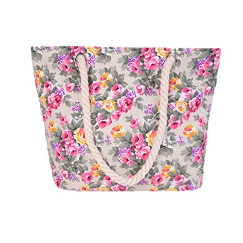 Signore Canvas Shoulder Bag Fashion Flowers Grande Capienza Beach Bag A