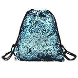 ASHOP Pailletten Mode Frauen Mädchen Tasche Rucksack Outdoor Sportbeutel Coole Beuteltasche Turnbeutel Damen (Blau)
