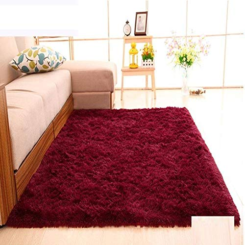 Über Living Room Coffee Table (Velvet living room coffee table carpet bedroom bedside bay window office full shop silk porch carpet customizable size-Claret,200 * 250CM)