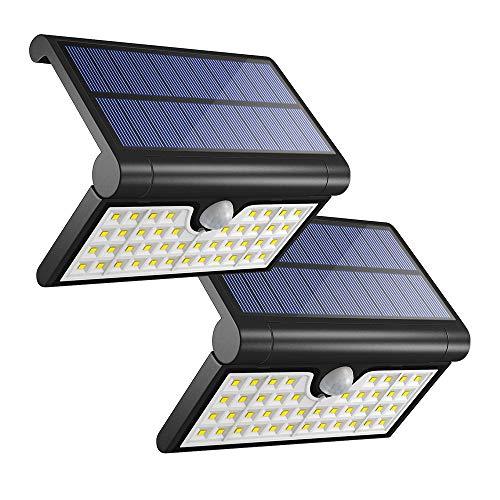 Solarleuchte für Außen Nateer, 2 Stück 42 LED faltbare Solar Wandleuchten Garten mit Bewegungsmelder, 2W 2000 mAh Solarlampe mit 3 Interlligenten Modi, wasserdicht IP65 für Aussen Wand Hof Balkon