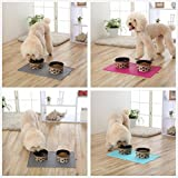 UBEST Napfunterlage mit Saugnapf Futtermatten aus Naturkautschuk 40 x 30 x 0.5 CM Unterlage für Haustier Hunde und Katzen, Blau - 6