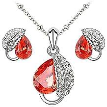 Le Premium® - insieme dei monili collana pendente foglia + orecchini Swarovski a forma di goccia d'acqua Cristalli rossi Padparacha