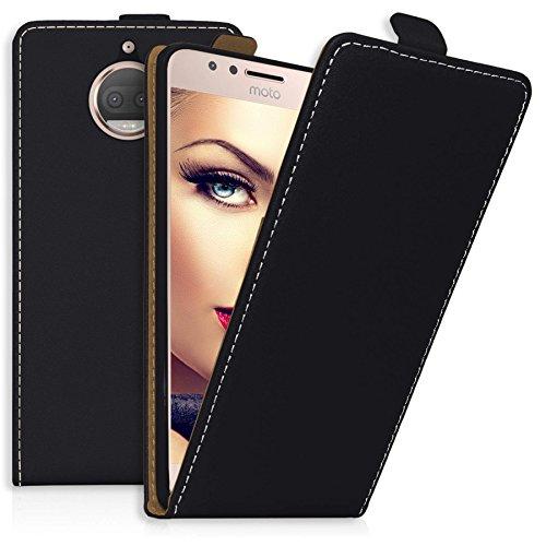 mtb more energy® Flip-Case Tasche für Motorola Moto G5S Plus (XT1803, XT1805 / 5.5'') | Schwarz | Kunstleder | Schutz-Tasche Cover Hülle