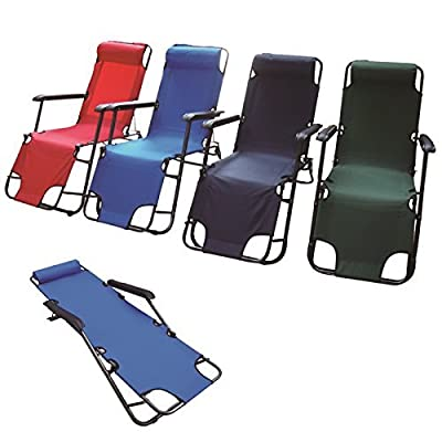 Adjustable Metal Folding Chair Recliner Deck Camping Sun Bed Lounger Garden Pool Patio Seat Foldable Furniture by Eurotrade W Ltd