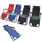 Adjustable Metal Folding Chair Recliner Deck Camping Sun Bed Lounger Garden Pool Patio Seat Foldable Furniture (Green)
