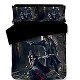 #Bedding 3 pièces Parure de lit Housse Couette Imprimé 3D Assassin's Creed avec Une Housse de Couette et 2 taies d'oreiller pour Enfants,C,Full