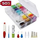 Stickerei Starter Kit - Kreuzstich Tools Beinhaltet 50 Farben Stickgarn, Floss Organizer, Kunststoff-Stickgarnspulen Bedruckt mit DMC Farbnummer