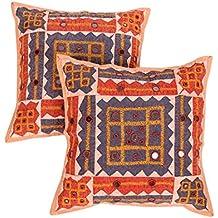 Cubre Cojines cojines india hecha a mano de coches Peach algodón bordado Espejo trabajo Kantha Patch