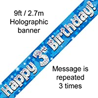 3rd Birthday Blue Holographic Banner by Signature Balloons