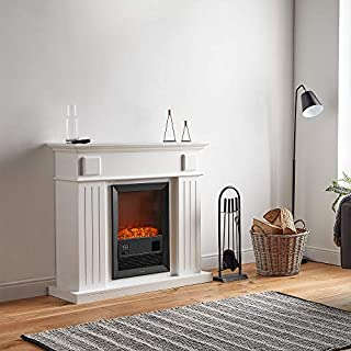 VonHaus Electric Fireplace Suite - 2KW Fire Place with Wall Surround – 7-Day Timer, Adjustable LED Flame Effect, Temperature Display Screen & 2 Heat Settings – Remote Control Included – 100cm (H) x 109cm (W) x 37cm (D) - White 1000W/2000W