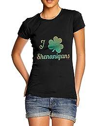 TWISTED ENVY Love Shamrock Shenanigans Irish Green Women's Funny Cotton T-Shirt