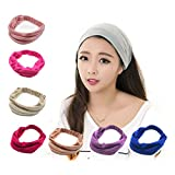 HuntGold 1XM�DCHEN Womens Wide Yoga Beauty Makeup Face Washing Elastic Headband Hair Band Stretch Headband (Wine Red)