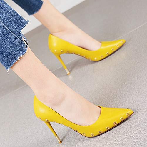 HRCxue Pumps Air Rivet Stiletto Heels Mode Spitze weiße einzelne Schuhe weiblich, 39, orange -
