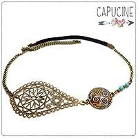 Headband avec cabochon verre pois et estampe bronze - Accessoire cheveux - Damier - Idée cadeau femme, cadeau de Noël, de Saint Valentin, cadeau de fête des mères