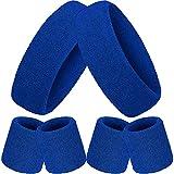 6 Pièces Striped Sweatband Set, Comprend 2 Pièces Bandeau de Sport et 4 Pièces Bandeau de Poignet en Coton Coloré Bandeau Rayé pour Hommes et Femmes (Bleu)