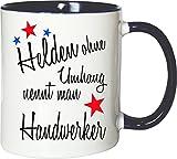 Mister Merchandise Becher Tasse Helden Ohne Umhang Nennt Man Handwerker Kaffee Kaffeetasse liebevoll Bedruckt Beruf Job Geschenk Weiß-Blau